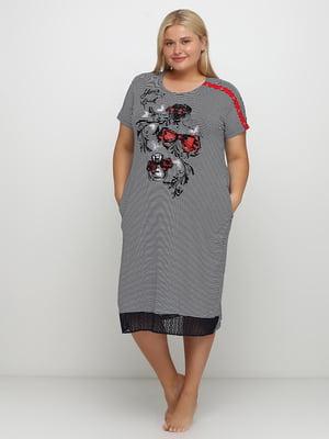 Сукня двоколірна в смужку і в принт | 5777099