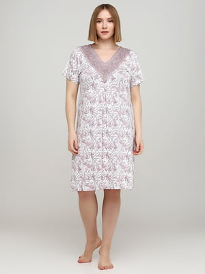 Рубашка ночная молочного цвета в цветочный принт | 5777103