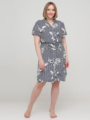 Сукня двоколірна в смужку і в квітковий принт | 5777107