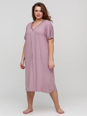 Сорочка нічна рожева в принт | 5777114