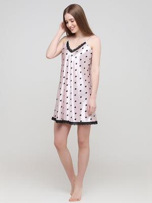 Сорочка нічна рожева в принт | 5777134