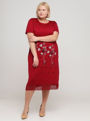 Платье бордовое с цветочным рисунком | 5777135