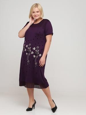 Сукня баклажанного кольору з квітковим малюнком   5777136