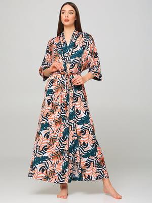 Халат комбинированного цвета в растительный принт | 5777157