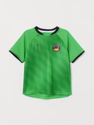 Футболка спортивная зеленая с принтом   5775369