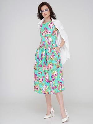 Сукня бірюзова в квітковий принт | 5779801