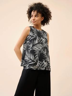 Блуза чорна в рослинний принт   5780634