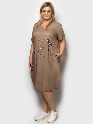 Сукня коричнева з принтом   5781635