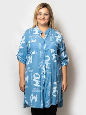 Рубашка-туника голубая в принт   5781672
