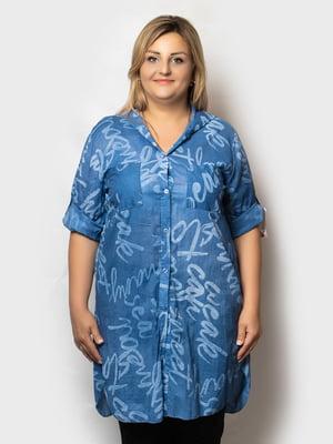 Рубашка-туника синяя в принт   5781675