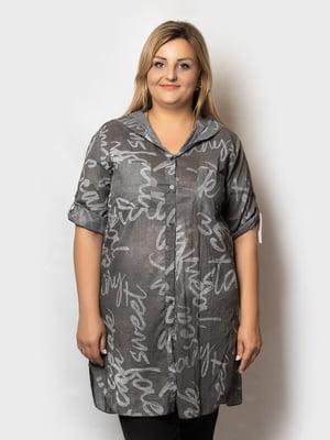 Рубашка-туника серая в принт   5781676