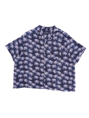 Рубашка синяя в принт   5766723