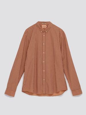 Рубашка терракотового цвета в полоску   5780296