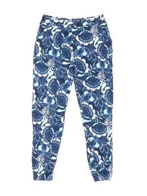 Штани сині в квітковий принт   5780349