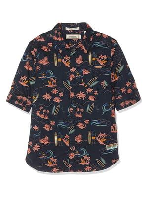 Рубашка синяя в комбинированный принт   5780438