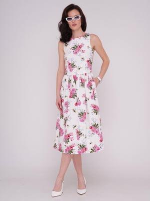 Сукня біла в принт | 5782019