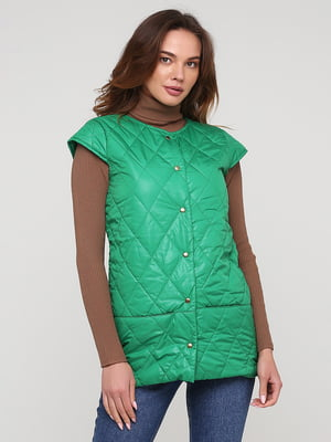 Жилет зелений з візерунком-ромбом   5783268