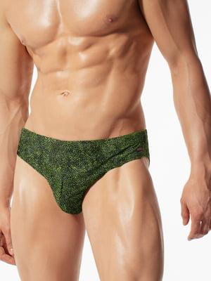 Плавки зеленые в принт | 5784202