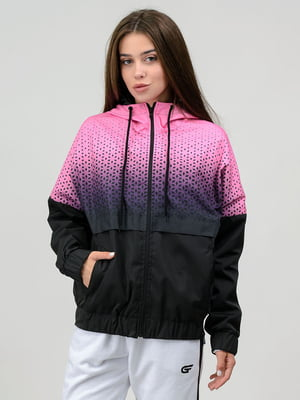 Ветровка черно-розовая с принтом   5784693