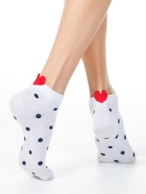Носки белые с декором и в горошек | 5699005