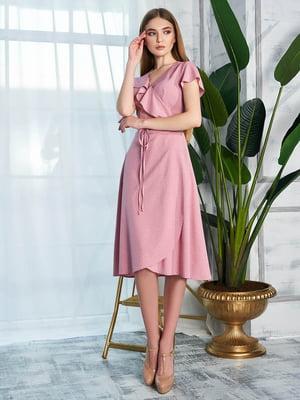 Сукня пудрового кольору в принт | 5786557