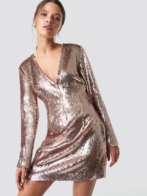 Платье золотистого цвета с декором   5788339
