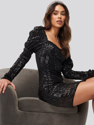 Платье черное с декором   5788412