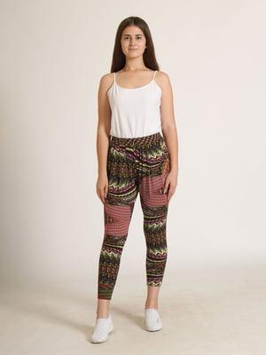 Штани комбінованого кольору з орнаментом   5794156
