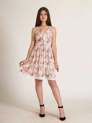 Сукня біла в смужку і в квітковий принт   5796063