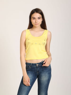 Майка жовта з квітковим орнаментом | 5798268