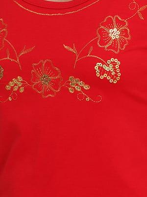 Майка червона з квітковою вишивкою | 5798344