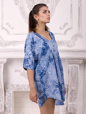 Сукня синя в квітковий принт | 3998461