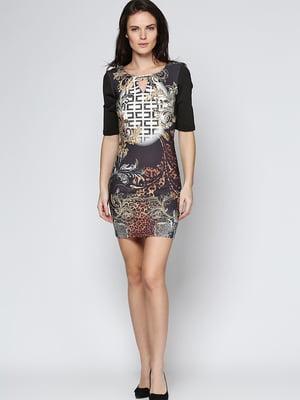Платье комбинированного цвета в принт | 4092266