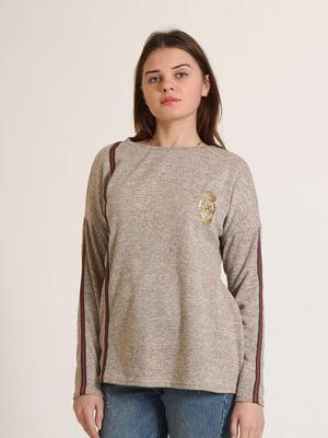 Джемпер бежевий в смужку і з логотипом | 5790308