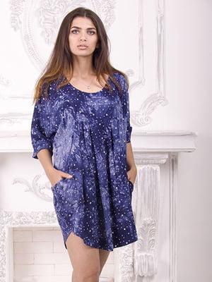 Сукня синя в квітковий принт | 5792668