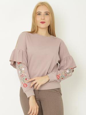Світшот фіолетовий з квітковою вишивкою   5792867
