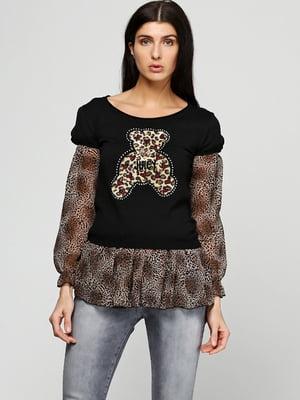 Блуза чорна в анімалістичний принт   5793377