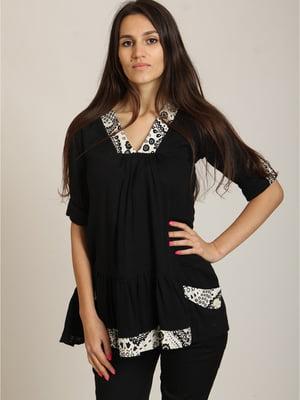 Блуза чорна в принт | 5794750