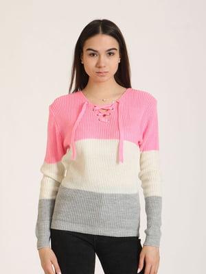 Пуловер комбінованого кольору в смужку | 5795913