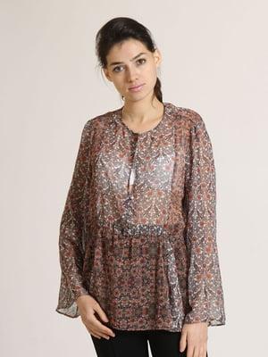 Блуза комбінованого кольору в квітковий принт   5796072