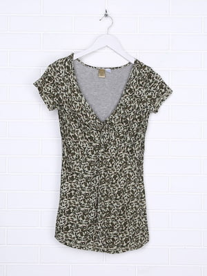 Блуза серая в принт | 5796815