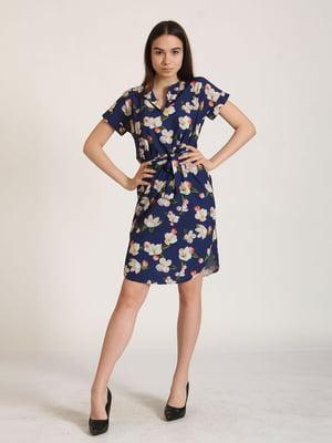 Сукня синя в квітковий принт | 5797422