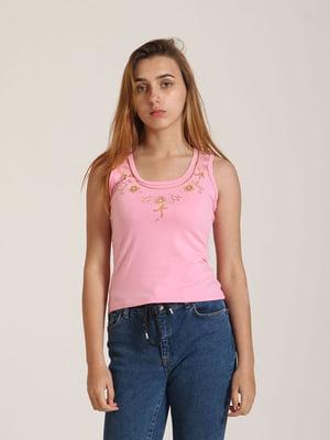 Майка рожева з квітковою вишивкою | 5798323