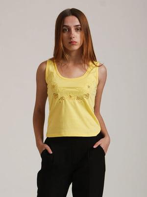 Майка жовта з квітковою вишивкою | 5798388