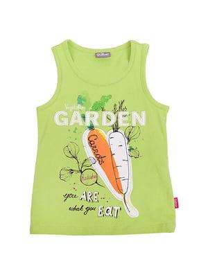 Майка салатового цвета в принт | 5798466