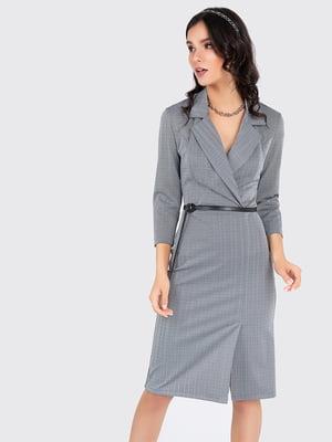 Платье серое с узором   5799782