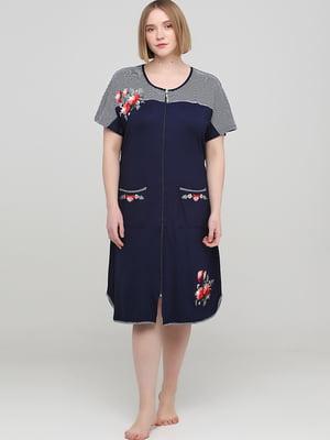 Халат темно-синий в полоску с вышивкой   5800364