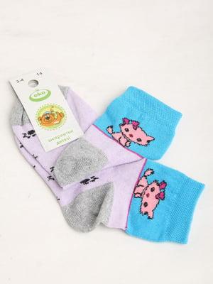 Носки комбинированного цвета в полоску и в принт   5791877