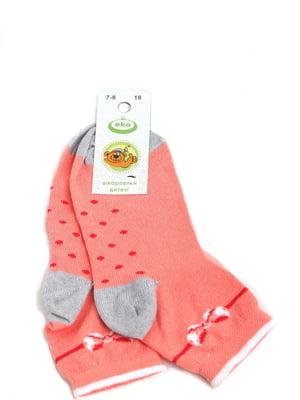 Носки кораллового цвета в принт и в горошек   5791881