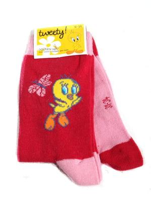 Носки розовые с рисунком | 5791895